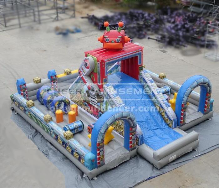 Cheer Amusement Robot Themed Inflatable Fun City