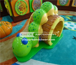 The worm shaped tunnel sculpture softplay with two shapes